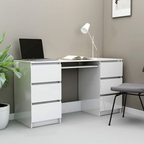 Writing Desk High Gloss White 140x50x77 cm Chipboard