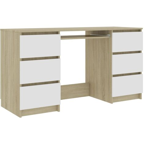Writing Desk White and Sonoma Oak 140x50x77 cm Chipboard
