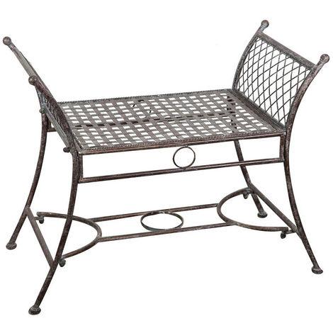 Wrought iron antique rust finish benchW 80xDP42xH62 cm sized