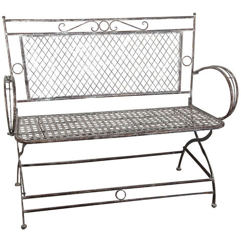 Wrought iron antique rust finish small sofa / bench W120xDP52xH79 cm sized