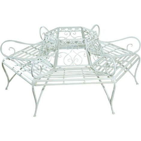 Wrought iron bench with antique white finish wrought iron shaft