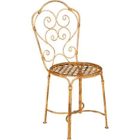 WROUGHT IRON CHAIR WITH ANTIQUE CREAM FINISH