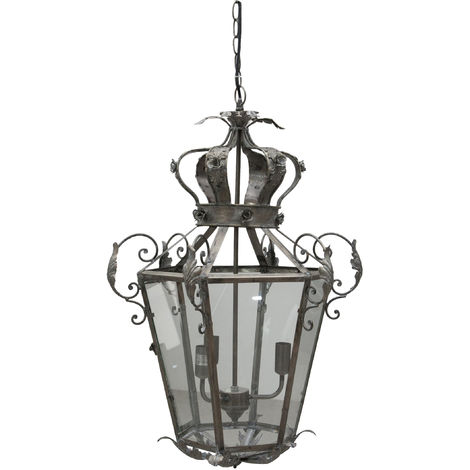 Wrought iron made antique rust finish L55xDP48xH79,5 cm ceiling lantern