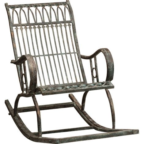 Wrought iron made antiqued rust finish W127xDP64xH90 cm sized armchair rocking chair