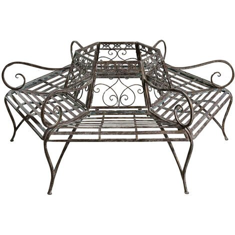Wrought iron made antiqued rust finish W153xDP153xH86 cm sized three bench