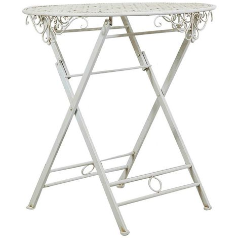 Wrought iron made antiqued white finish 70x76 cm diameter folding table