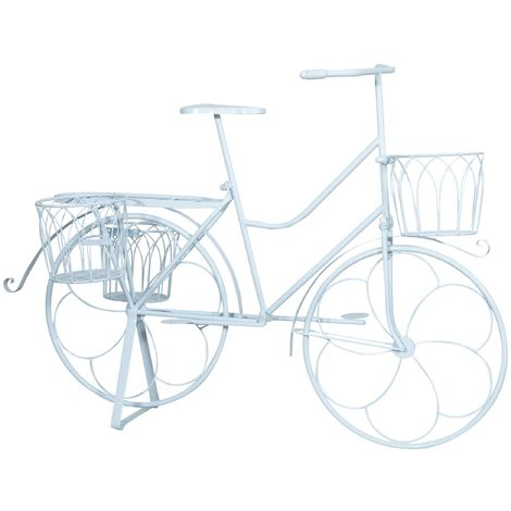 Wrought iron made antiqued white finish bicycle flower pot holder