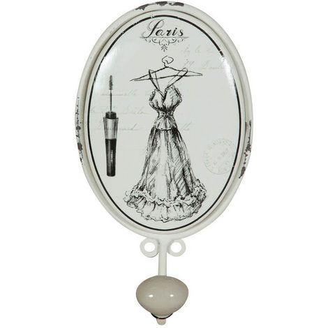 "Wrought iron made antiqued white finish ""le Bain"" dress coat hook wall art"