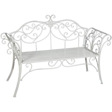 Wrought iron made antiqued white finish W133xDP47xH90 cm sized bench sofa