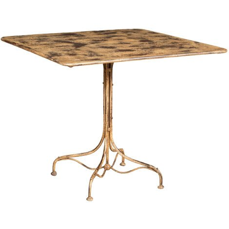 WROUGHT IRON TABLE WITH ANTIQUE CREAM FINISH