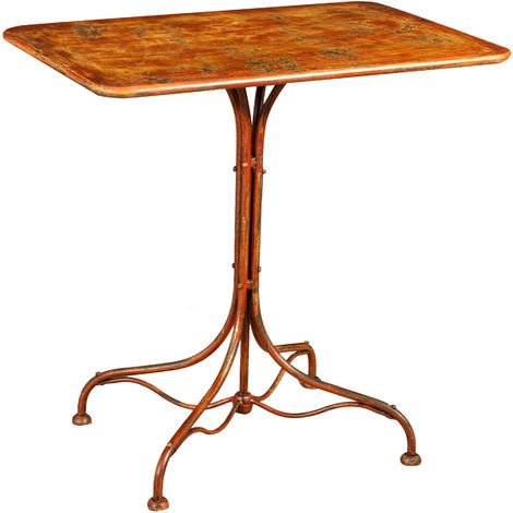 WROUGHT IRON TABLE WITH ANTIQUE RED FINISH