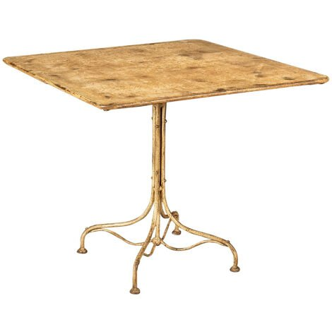 WROUGHT IRON TABLE WITH ANTIQUE WHITE FINISH