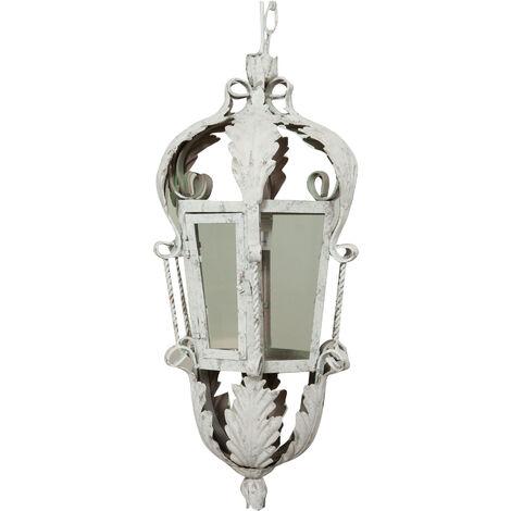 Wrouhgt iron antiqued white finish ceiling lantern W30xDP24xH58 cm sized