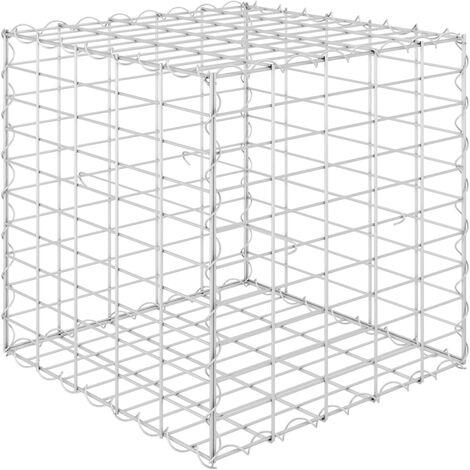 Würfel-Gabionen-Hochbeet Stahldraht 50x50x50 cm