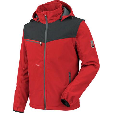 Würth MODYF Stretch X Softshelljacke: Die Bestseller Jacke besteht aus elastischem Softshell-Material und ist mit abnehmbaren Ärmeln & Kapuze ausgestattet. In rot & der Größe 4XL verfügbar.