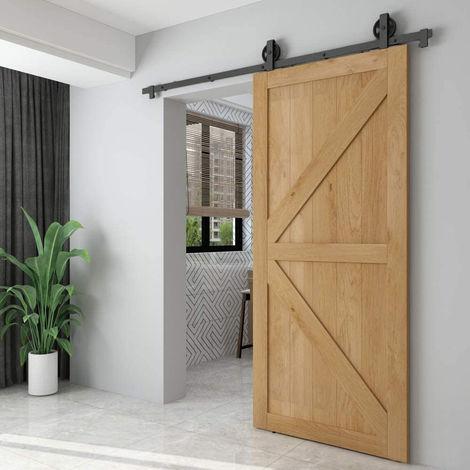 WYCTIN® 200 cm puerta de granero riel colgante rueda grande en forma de T embalaje de algodón sin perlas (puerta única)