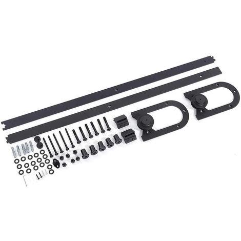 WYCTIN® 200 cm puerta de granero riel colgante tipo herradura embalaje de algodón sin perlas (tipo puerta única)