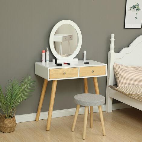 WYCTIN® Coiffeuse design - 2 Tiroir avec coulisses - Miroir rond - tabouret housse lavable - 80 x 40 x 125 cm (L x l x h)