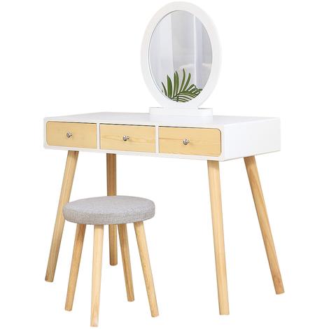 WYCTIN® Coiffeuse Design scandinave Blanc Grand Surface 100x40cm Livraison avec le tabouret