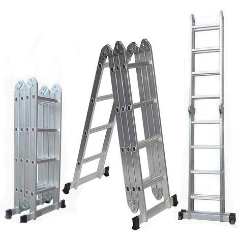 WYCTIN - Escalera De Aluminio Plegable 470cm,Multifuncional 6 En 1,Carga Máxima 150kg,Diseño Antideslizante,Tamaño Plegado 127*37*25cm
