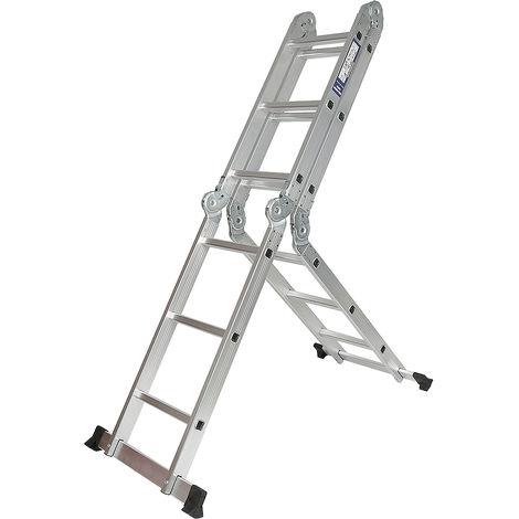 WYCTIN® Escalera multiusos, escalera plegable, altura de despliegue: 360 CM, tamaño de plegado: 99 * 27 * 37 CM, distancia entre pasos: 28 CM