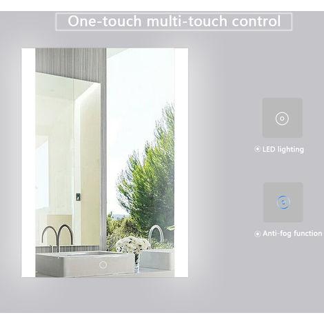 WYCTIN® Espejo de baño, blanco frío, antivaho, 60 * 80 cm