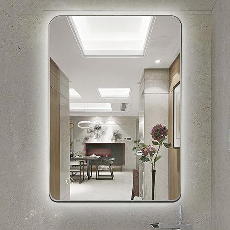 WYCTIN® Espejo de baño con control táctil, blanco frío, 80 * 60 cm