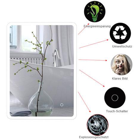 WYCTIN® Espejo de baño LED rectangular con esquinas redondeadas, blanco frío, 60 * 80 cm