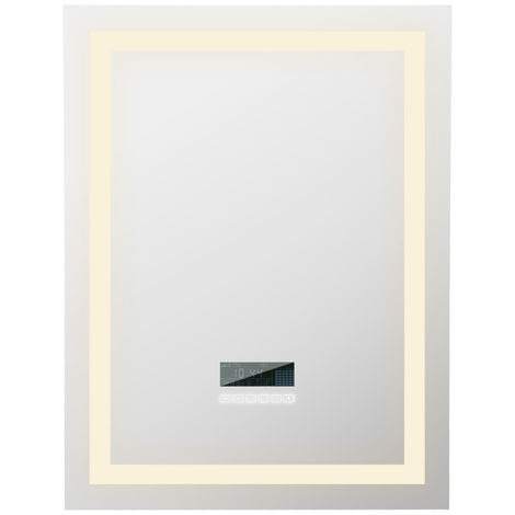 WYCTIN® Espejo de baño LED regulable con Bluetooth antivaho, 80 * 60 cm