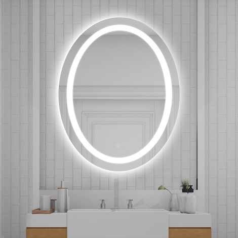 WYCTIN® Espejo de baño ovalado, blanco frío, antivaho, 80 * 60 * 4.5cm