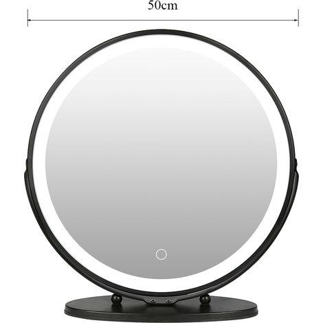 WYCTIN® Espejo de tocador giratorio con marco redondo negro 50 * 50cm blanco frío 6500k