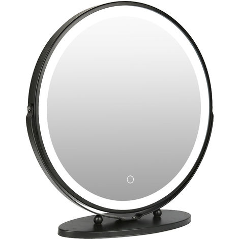 WYCTIN® Espejo de tocador giratorio con marco redondo negro 50 * 50cm regulable en tres colores