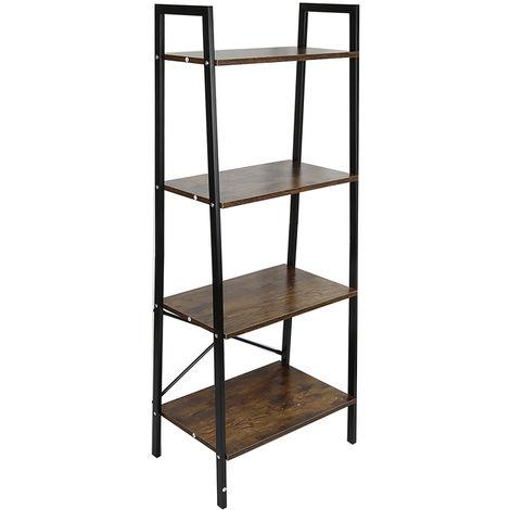 WYCTIN® Estante de almacenamiento de estantería de 4 niveles para sala de estar, dormitorio, cocina, negro vintage