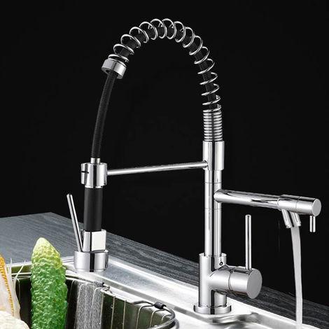 WYCTIN® Grifo de resorte frío y caliente de doble salida de 360 grados | plateado (tubo de salida negro)