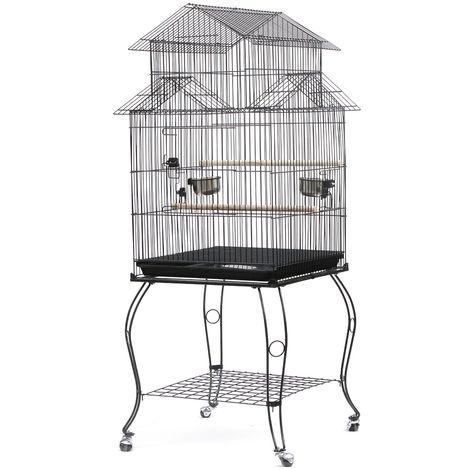 WYCTIN® Jaula de alambre para pájaros con 4 ruedas, 59 * 59 * 139.5cm