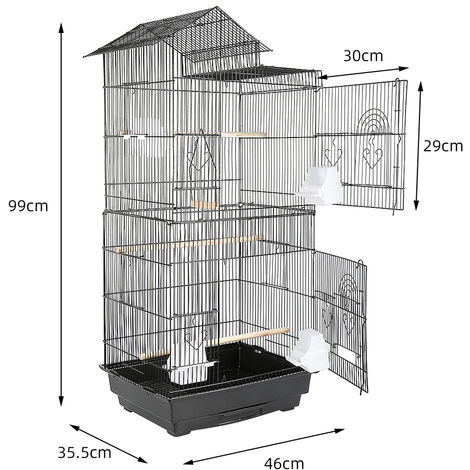 WYCTIN® Jaula de alambre para pájaros con diseño de techo y tipo conveniente, 46 * 35.5 * 99cm