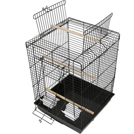 WYCTIN® Jaula para canarios y pájaros exóticos pequeños Giusy Jaula para pájaros rectangular, con techo que se puede abrir