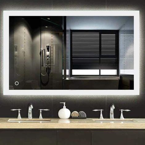 mit Touch Schalter Dimmbarer Dekorative Wandspiegel Antibeschlag Kosmetikspiegel 50x70cm Badezimmerspiegel mit Beleuchtung GROOFOO LED Badspiegel