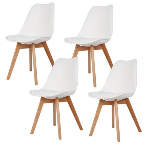 WYCTIN® Lot de 4 chaises - Design contemporain nordique et scandinave-BLANC