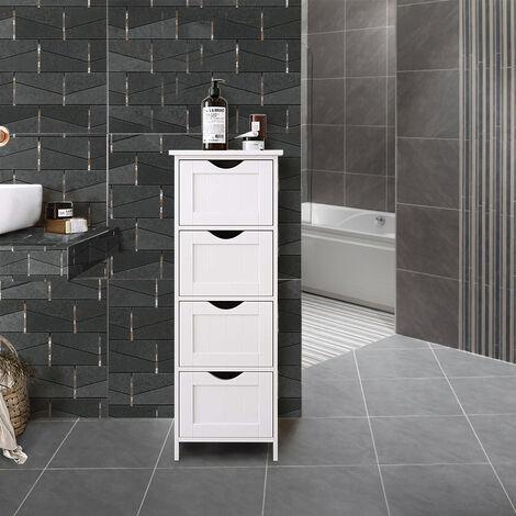 WYCTIN® Meuble Colonne de Salle de Bain Armoire Meuble de rangement – 4 tiroirs- Blanc