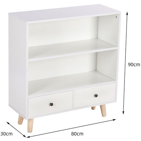WYCTIN® Mueble de almacenamiento de madera vertical | todo estilo blanco | 2 cajones y 1 estante | 80 * 30 * 90 cm