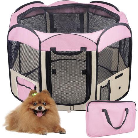 WYCTIN® Parque de Juegos para Mascotas,Valla para mascotas,Fácil de transportar y limpiar,Rosado