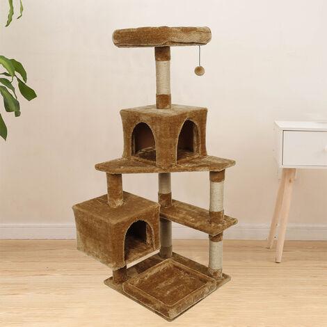 WYCTIN® Poste rascador marrón   Multicapa   Con cueva y zona de descanso   Árbol para gatos
