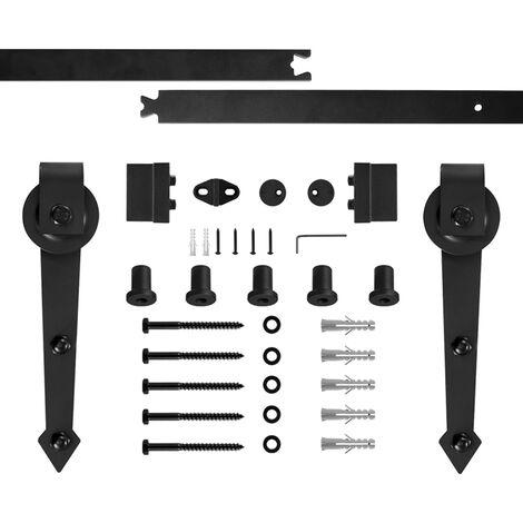 WYCTIN® Puertas correderas,puerta de granero, juego de polea de riel colgante, estilo de gancho en forma de espada, puerta única de 200 cm