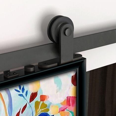 WYCTIN® Puertas correderas,puerta de granero, juego de poleas de riel colgante, estilo gancho en T, puerta única de 183 cm