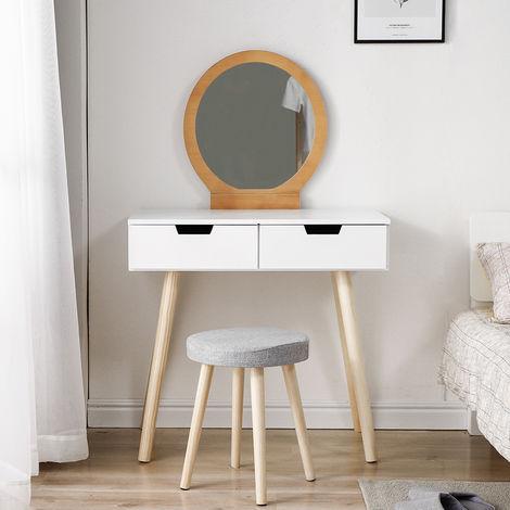 WYCTIN® Tocador moderno con taburete,Color blanco y madera, 2 cajones, 80 × 40 × 128CM