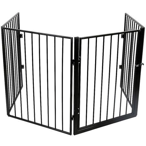 WYCTIN® Valla de seguridad, valla para mascotas, 4 piezas, 240 * 2.5 * 75cm, negro