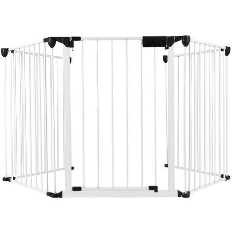 WYCTIN® Valla de seguridad, valla para mascotas, 5 piezas, 310*2.5*75cm , blanco