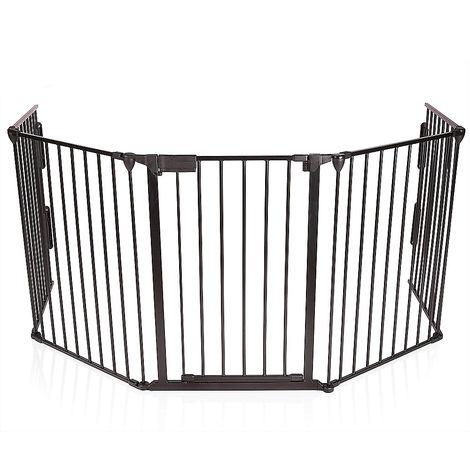 WYCTIN® Valla de seguridad, valla para mascotas, 5 piezas, 310*2.5*75cm , negro