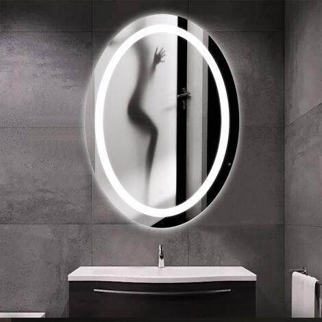 WYCTIN®60 x 80cm Miroir de salle de bains à LED lumineux forme ovale